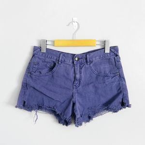 FREE PEOPLE Purple Mid Rise Cutoff Jean Shorts